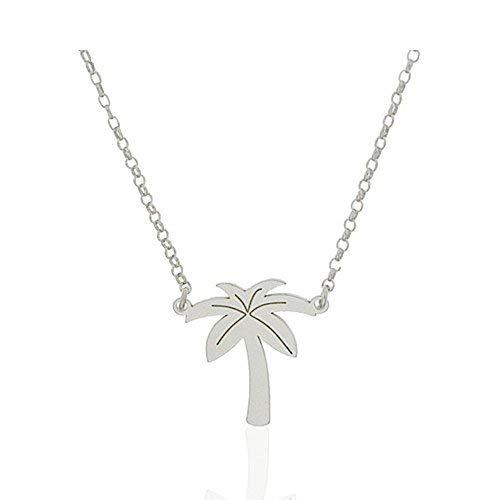 MY ME JEWELS My Ich Jewels Halskette Damen Silber Palme 15* 15mm, Kette Rolo karätige 40cm 3cm Verlängerung Verstellbar (Palmen 15mm)