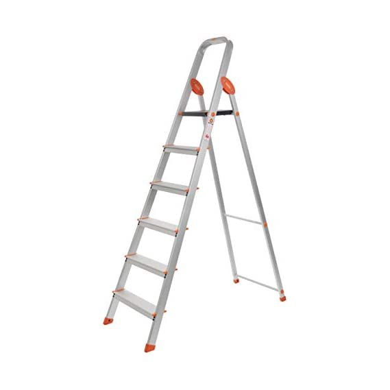 Bathla Advance Carbon - 6 Step Foldable Aluminium Ladder with Scratch Resistant Smart Platform and Sure-Hinge Technology (Silver, Orange and Black)...