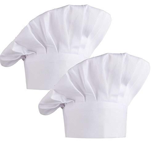 Kbnian 2pcs Gorro de Chef con Goma Elástica, Algodón 100%, Gorro de Cocinero, Forma Tipo Champiñón, Ideal para el Pastelero y el Panadero de la Tienda, el Cocinero del Hotel/Restaurante - Blanco