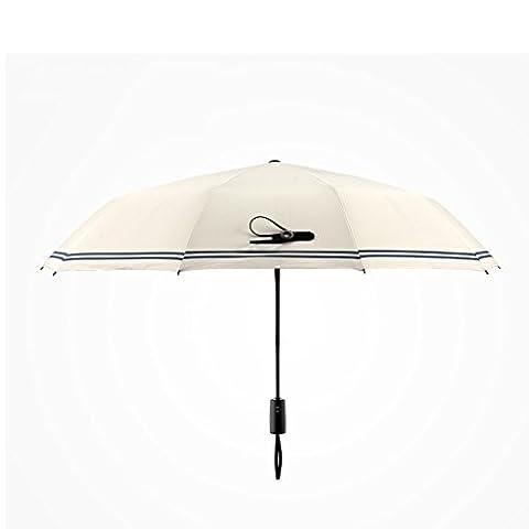 Ouverture automatique classique Parapluie double pliable pour homme et femme Rayures en caoutchouc Noir Sunny Parapluie Parapluie 3plis beige beige