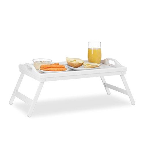 Relaxdays Betttablett Bambus, klappbar, mit Griffen, erhöhter Rand, zum Frühstücken & Servieren, HBT 22x61,5x30cm, weiß