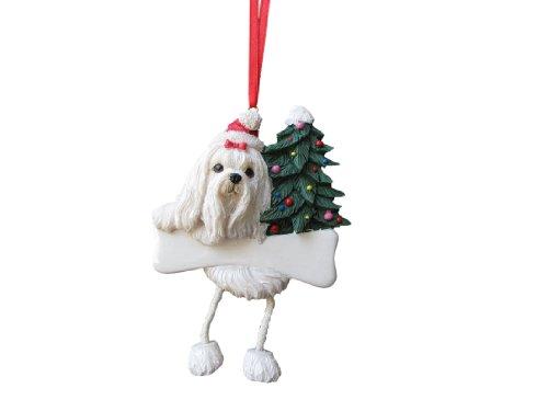 E&S Pets Malteser Ornament mit Einzigartige Schlenkerbeinen Handbemalt und leicht Persönliche Weihnachten Ornament -