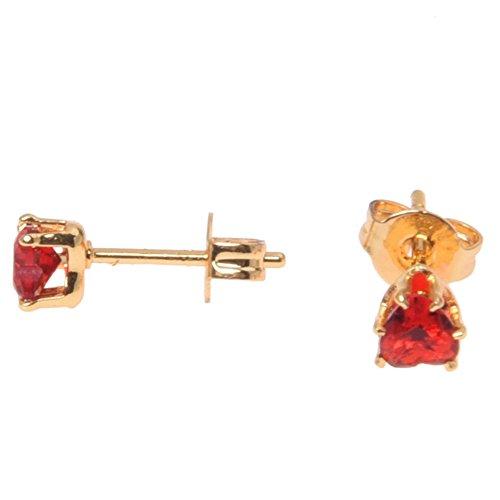 TOOGOO(R)1 Paar Vergoldete Sechs Klauen Ohrring Ohr Bolzen Rotes Herz Zirkon Kristall 4 - Kristall-herz-bolzen-ohrringe