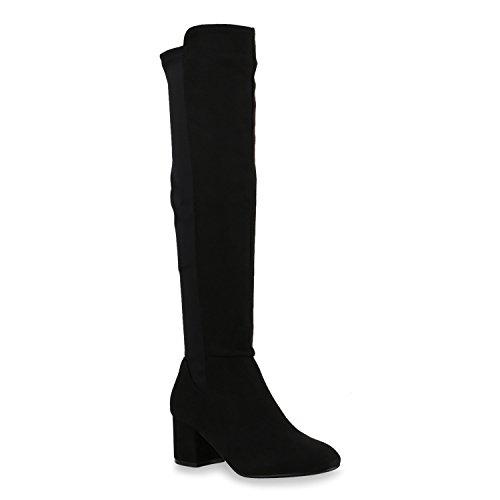 Damen Stiefel Overknees Klassische Stiefel Wildlederoptik Schuhe Schwarz Camiri