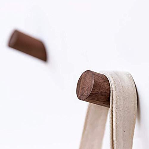 jikaifaquyanhel Zuverlässige Neu Dekorativ Natürliches Holz Mantel Haken Untersuchung Wandmontage Kleidung Schal Hut und Tasche Aufbewahrung Aufhänger in Fein Stil - Walnuss 8 cm, 2 -
