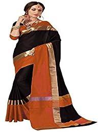 Rajeshwar Fashion Women's Cotton Silk Saree (AANGI BLACK AND MUSTURD BORDER_Black)