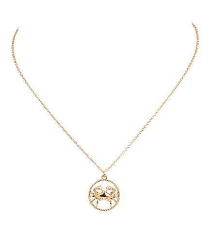 Sternzeichen, Krebs, Statement Kette, Anhänger, Symbol, Gold (758-928) ()