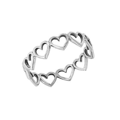 81stgeneration Frauen .925 Sterling Silber Mehrere ausschneiden Liebe Herz Band Stapelbarer Ring