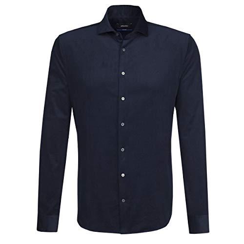 Seidensticker Herren Langarm Hemd Tailored Spread Kent Blau Cord 246962.19 (Blau, 39) Tailored Cord