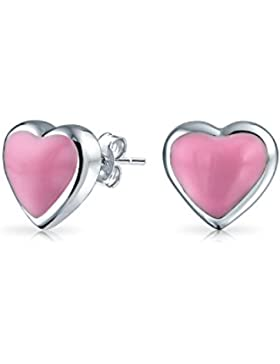 Bling Jewelry Kinder Rosa Emaille Herz Ohrstecker 925 Sterling Silber 5mm