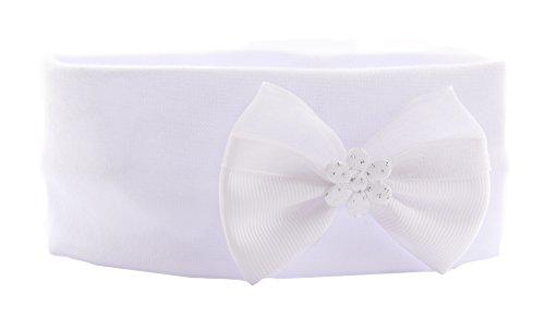 Baby Kinder Haarband Stirnband Hairband Weiß mit Schleife festlich Taufe La (Stirnband Hut)