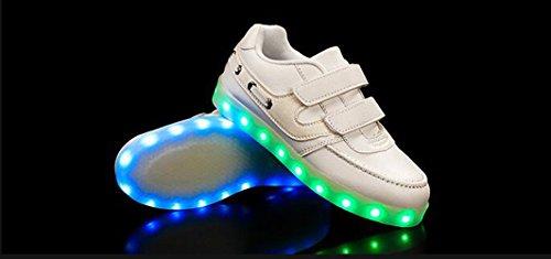 Firstmall- Chaussures 7 Couleur Unisexe garçons et filles enfants USB Charge LED Lumière Lumineux Clignotants Chaussures de Sports Baskets Blanc