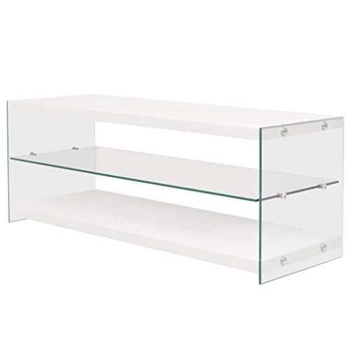 vidaXL Fernsehtisch Hochglanz Glas MDF TV Tisch Lowboard TV Schrank Sideboard -
