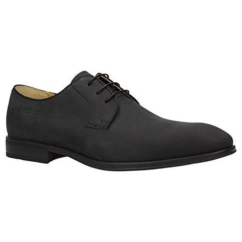 Zweigut Hamburg- Smuck #270 Herren Business Leder Schuh Komfort-König Derby Sneaker-Gefühl, Schuhgröße:44, Farbe:Schwarz Matt