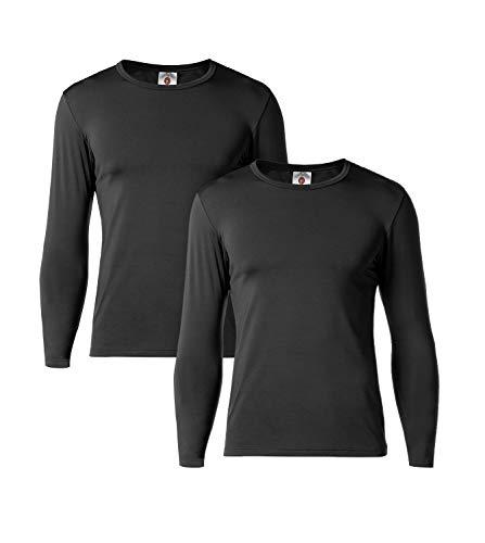 Lapasa Herren Thermounterwäsche Set Thermo-Unterhemden Ski Funktionsunterwäsche Skiunterwäsche für Winter M55 (L, Black- Schwarz)