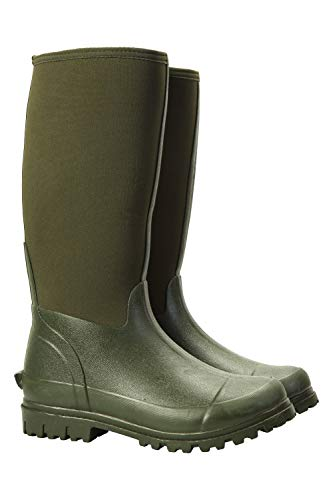 Mountain Warehouse Neoprene Mucker Casual Mens Wellies - Waterproof Rain Boots, Easy Wipe Clean Wellington Boots, Durable, Sturdy Shoes - for Walking, Travelling Khaki 10 UK