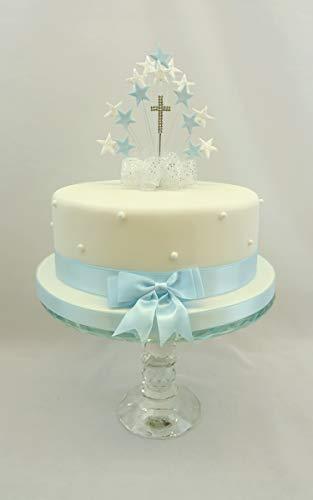 The Cake Emporium Ltd Kuchen Dekoration Star Burst blau-Erstkommunion, mit Kreuz Tortenaufsatz (1. Dekorationen Kommunion Kuchen)