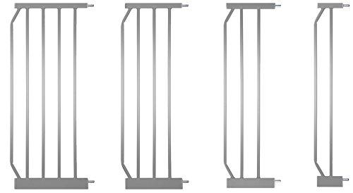 Baby-gate Französisch Türen (IB-Style - Verlängerungen / Erweiterungen / Zubehör für Tür- und Treppenschutzgitter MIKA Silbermatt | 4 Längen | 45cm)