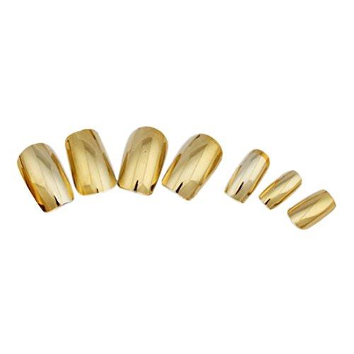Ouneed® 100/ 500 pcs Faux Ongles à coller ( transparent / or / argente ) (Or 70pcs)