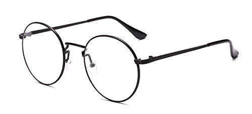 Outray Vintage Klassische Rund Kläre Linse Brille, Unisex Retro Metall Frame Brillenfassung, Schwarzer Rahmen