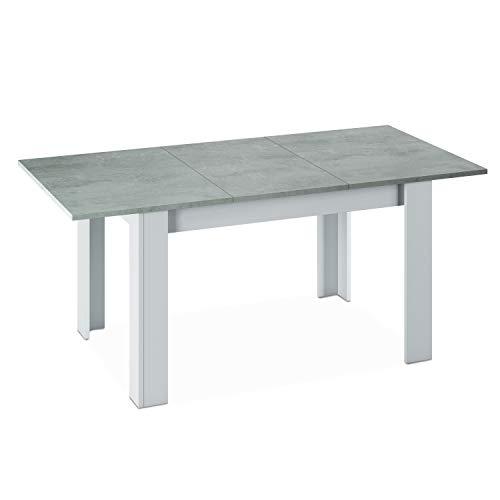 Habitdesign – Table de Salle à Manger Extensible de 140 à 190 cm, Blanc Artik et Gris Ciment, Dimensions fermée : 90 Largeur X 140 Long X 78 Hauteur