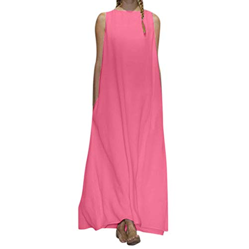 Tohole Sommerkleider Damen V-Ausschnitt SpaghettiträGer RüCkenfreies Strand Kleider A-Linie Lose Kleid Sleeveless V Ansatz Langes Frauen Einfarbig Sling Einfach Und Elegant(Pink 2,S)