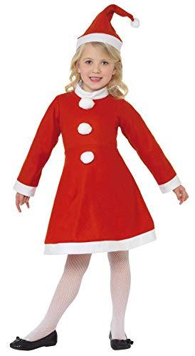 Smiffys, Kinder Mädchen Weihnachtsmann Kostüm, Kleid und Mütze, -
