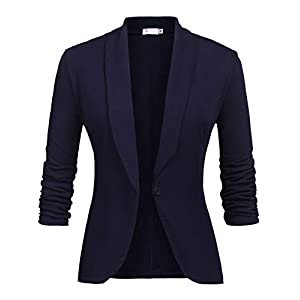 Lalala Damen Blazer Cardigan Dünn 3/4 Geraffte Ärmel Elegant Bolero Business Jacke Blazer Slim Fit Anzug Trenchcoat