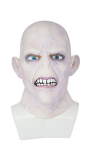 Mesky Halloween Maske Cosplay Mask Voldemort Latexmaske Party Film Kostüm Zubehör für Herren, Damen und Kinder One Size Bequem Harmlos Atmungsaktiv