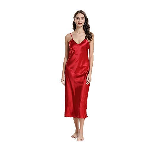 Damen Nachthemd Frau Sommer Sexy Negligee Satin Spinnen Seide Nachtkleid Kurz Langen Rock Schlanke Nachtwäsche Sleepwear Frauen Rundhals, Rot, L -