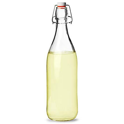 1litro columpio botella top, completo con Hermético por lo que es ideal para guardar bebidas caseras, aceites o salsas. Tamaño:H 313mm Ø 80mm