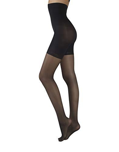 Collant total shaper vita alta, modellante snellente, body control, push up, calze donna, nero & naturale ||20 den|| (4 - l, nero)