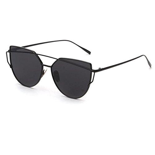Fashion Sonnenbrille FORH Unisex Damen Herren Klassische Metallrahmen Sonnenbrille Vintage Katzenauge Spiegel Sommer StrandBrille Gleitsicht Sonnenbrille Eye Glasses (Schwarz)