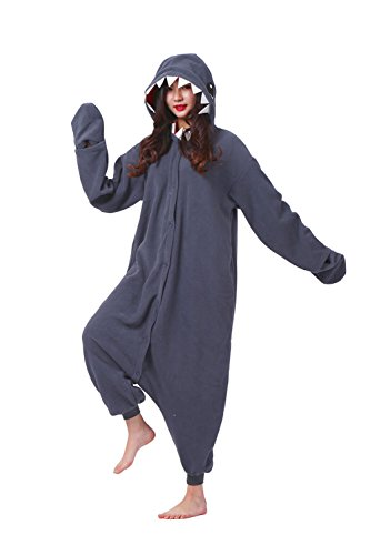 Hstyle Unisex Cartoon Pyjamas Onesies-Halloween-Party Kostüm Kigurumi Jumpsuits Black Shark (Kostüme Pyjama Shark)
