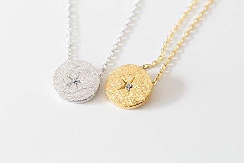 925 tondo stella CZ linea collana-BNargento collana, argento tondo collana, argento cerchio collana, argento CZ tondo collana, argento CZ gioielli, fascino collana, cristallo collana, moda
