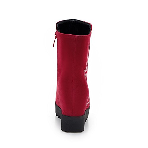 VogueZone009 Donna Cuneo Bassa Altezza Chiodato Cerniera Stivali con Studded Strass Rosso