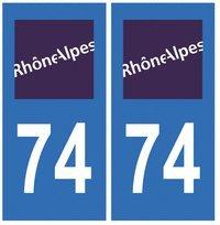 Autocollant plaque immatriculation auto département 74 Haute Savoie