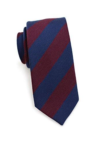 Blackird Schmale Herrenkrawatte, Klassisch Rot/Blau gestreift, 7 cm (Skinny/Slim Tie), Handarbeit, Wolle & Seide, Moderne Business Krawatte -