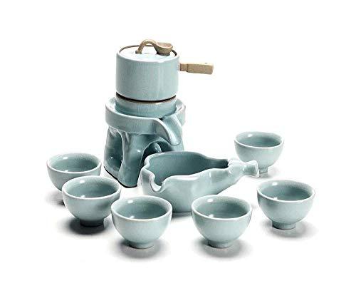 Yuany Tee-Set Retro Japanisch-stly Steinschleifen Kreative Lazy Kung Fu Tee Dicker Keramik Voll Halbautomatisches Haushaltsteeset (Farbe: Hellcyan)