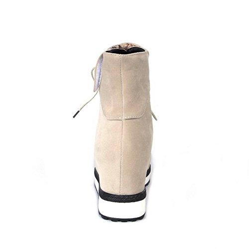 VogueZone009 Donna Bassa Altezza Allacciare Pelle Di Mucca Piattaforma Punta Tonda Stivali Beige