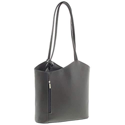 IO.IO.MIO Leichter Damen Leder Rucksack Handtasche Schultertasche Henkeltasche Daypack Tagesrucksack Backpack Frauen Tasche 2in1 Damenrucksack grau