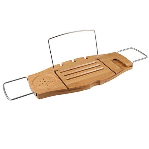 Ponts de baignoire Plateau de baignoire Étagère de baignoire Support de rangement polyvalent Support de baignoire multifonctionnel (Color : Wood, Size : 70-100 * 21 * 2.5cm)