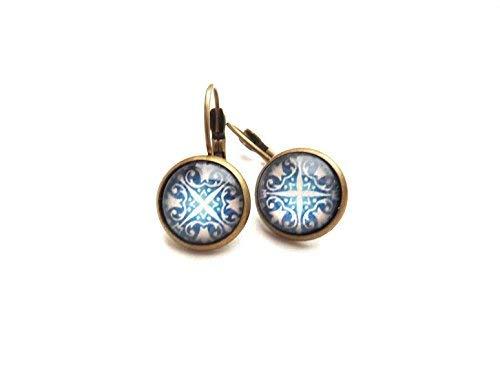 Art of Blue Ohrstecker, wunderschönes Bild, weißer Hintergrund, Vintage-Schmuck, Glaskuppel-Bronze-Ohrringe (Bild Weißem Hintergrund)