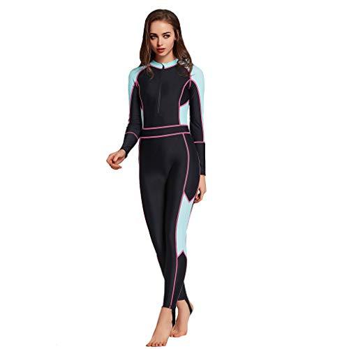 QIMANZI Taucheranzug Damen Herren Mädchen Ganzkörperansicht Badeanzug Overall Surfanzug Lange Ärmel Swimwear Strand Watersport UV Schutz Schwimmanzug(A Blau,S)