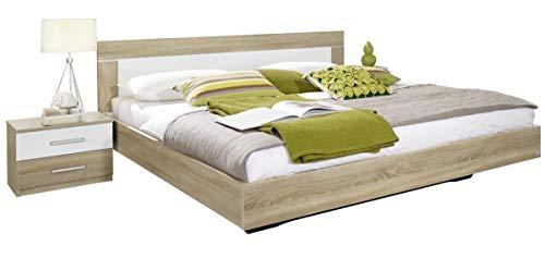 Rauch Bett 180 x 200 cm mit Nachttischen Weiß Alpin, Absetzung Eiche Sonoma Nachbildung, Stellmaß inkl. Nachttischen LxBxH 205x285x83 cm