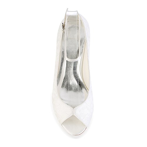 f8a25cb31419 Emily Bridal Lace Wedding Shoes Ivory Peep Toe Wedge Shoes Ankle Strap ...