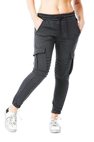 Damen Jogging Hose Jogger Streetwear Sporthose Modell 1214 Antra L