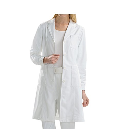 BSTT Damen Laborkittel Weiß Medizin Arbeitskleidung Uniformen verbesserung Geknöpfte Ärmel dünnes S -