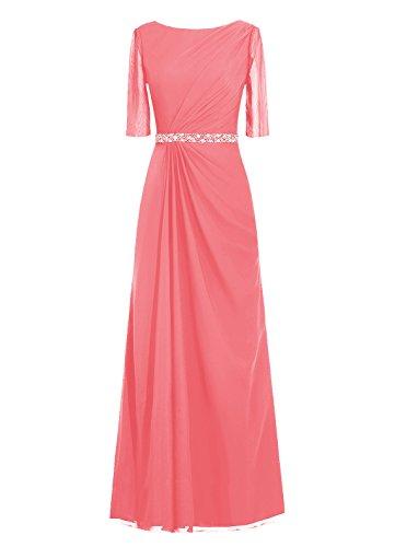 Dresstells, robe de soirée, robe de mère de mariée longueur ras du sol, manches 3/4 Corail