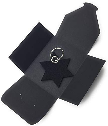 filzschneider Schlüsselanhänger aus Filz - 6eck-Stern - schwarz - als besonderes Geschenk mit Öse und Schlüsselring - Made-in-Germany